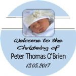 Blue Photo Christening cupcake topper